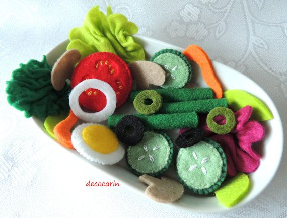 Felt Salad Felt Food Felt Vegetable Lettuce Tomato by decocarin