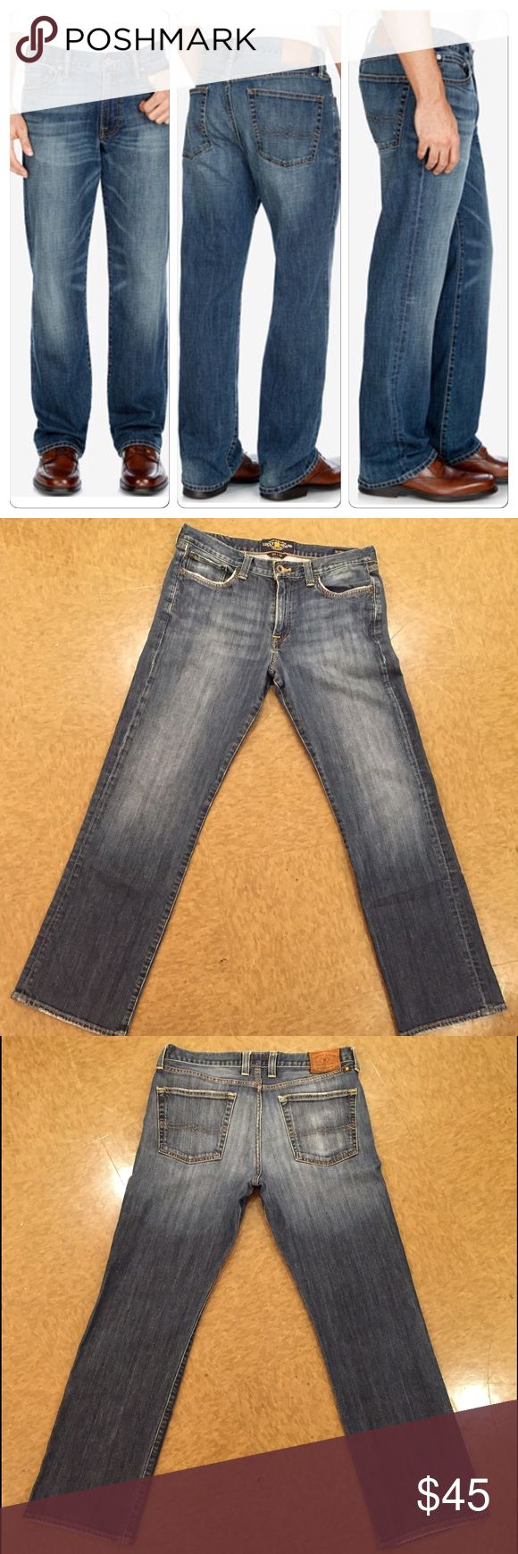 LUCKY Brand Men's 361 Vintage Straight-Leg jean These Mens Lucky Brand  size 33x32 are gently used and have minimal signs of wear. 98% Cotton/2% Elastane Button closure Machine Wash Faded straight-leg jean with whiskering at hips, honeycombs, and five-pocket styling Zip fly with button Lucky Brand Jeans Straight