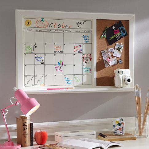 Dry-Erase Calendar Corkboard | PBteen  Double use board for Calendars and pin boards.