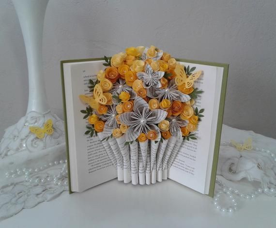 Origami Bouquet Recycled Book Art Birthday Gift Book Bouquet Wedding Gift Book Theme Gift Book Page Flowers Origami Flowers