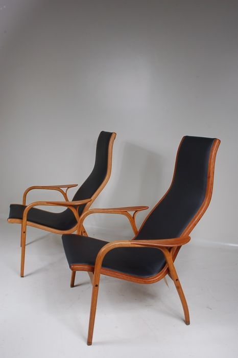 1950's early edition Lamino chair with teak frame and new black leather upholstery Produced
