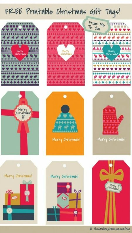 Colorful Free Christmas Printable Gift Tags | The Caroline Johansson