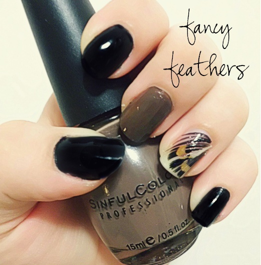 """""""Fancy Feathers"""" Nails: For feather applique, paint a base coat, cut feather to size and press down. Add a top coat or two, and voila!"""