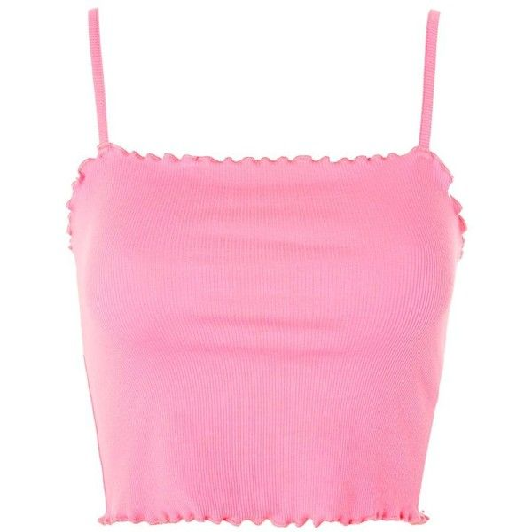 Topshop Riley Lettuce Camisole Top ($8.40) ❤ liked on Polyvore featuring tops, pink crop top, crop tops, pink cami, topshop cami and cropped camisole
