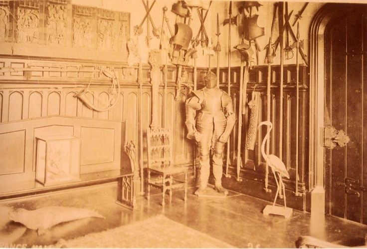 Entrance Hall, Singleton Abbey (early C20) ...The Abbey has changed somewhat inside - no suits of armour any more (and definitely no stuffed seals)