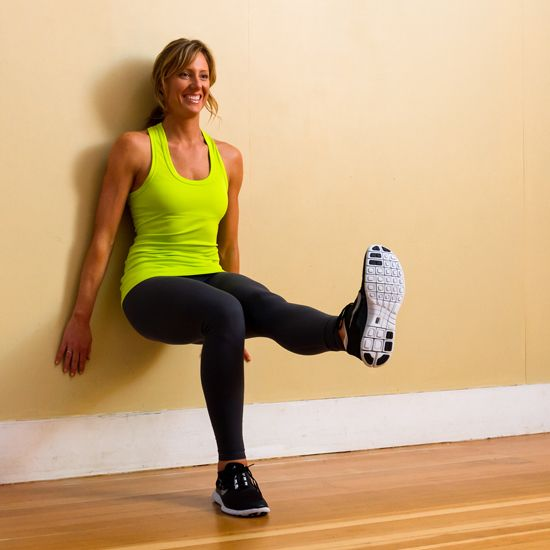 3 Simple Moves For Stronger Thighs:  step-ups sumo squats with arm raises wall sit with leg extension