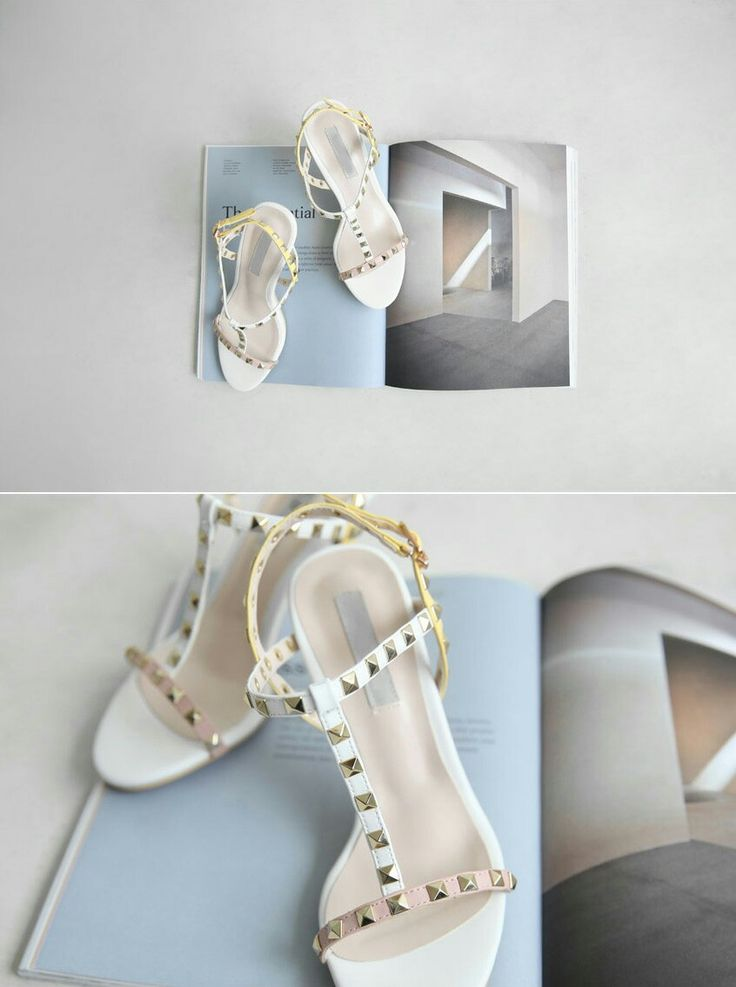 Finished with stud strap heels, an adjustable buckled ankle strap, a stiletto heel, and a ridged sole. Korean style Stud strap heels feature a T-strap upper embellished with metallic pyramid rock stud detailing.  Kakuu Basic stud strap heels are crafted of soft shade leather. Leather lining . Buckle closure. Available in two shades; skyblue and white.  kakuubasic.com