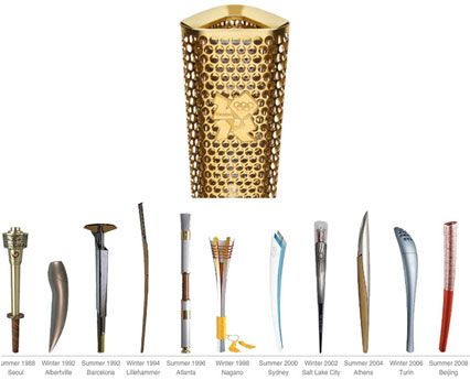 A timeline of torches headed by the London 2012 Olympic Torch