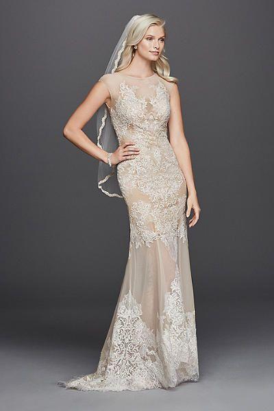David 39 s bridal stretch mesh sheath wedding dress with for Cap sleeve sheath wedding dress