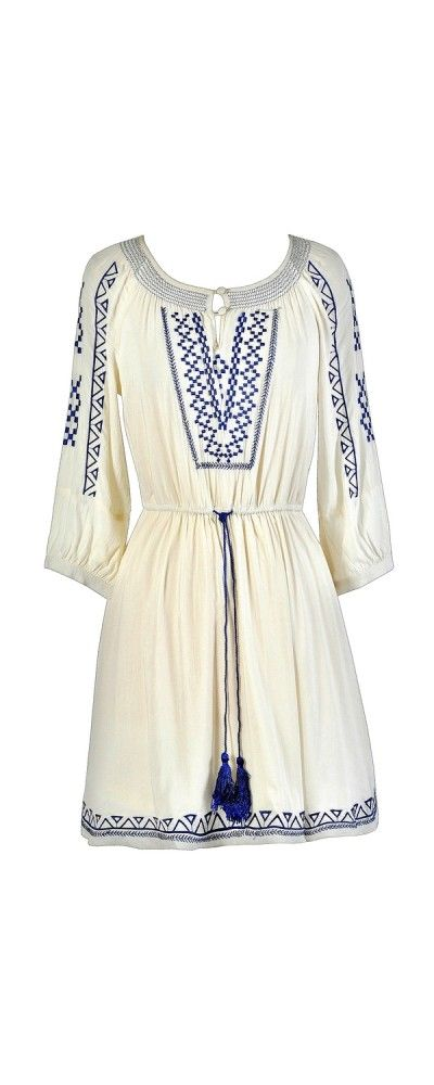 Edelweiss Embroidered Dress in Blue and Ivory  www.lilyboutique.com