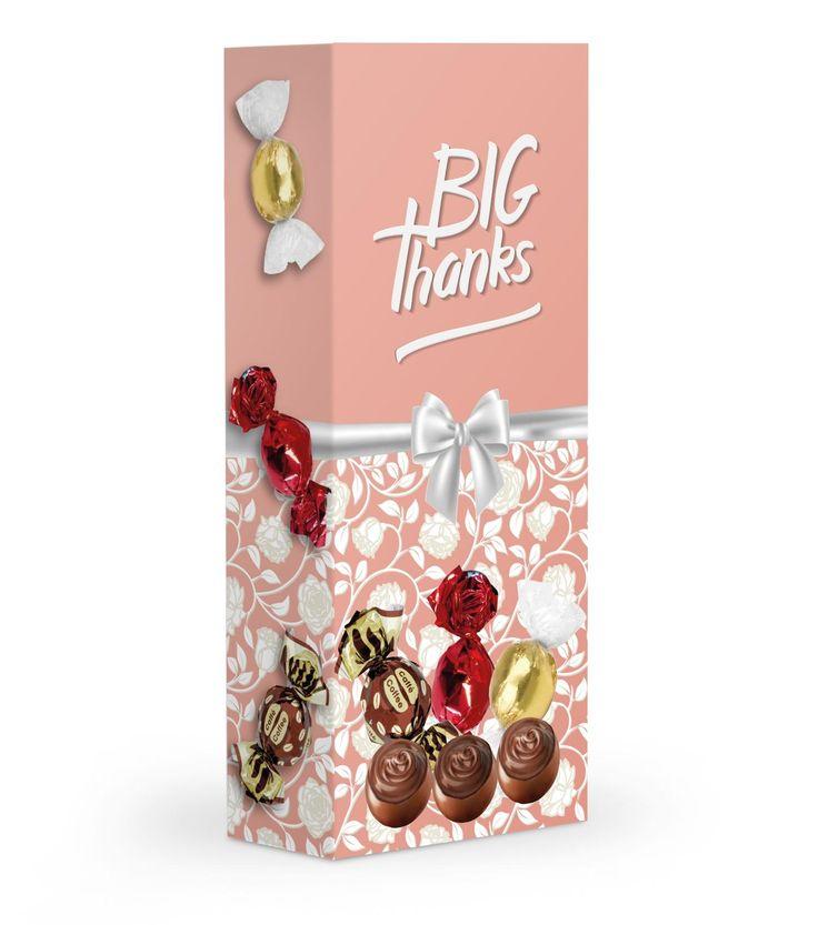 Čokoládové plněné pralinky v dárkové krabičce s poděkováním.