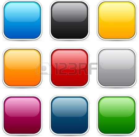 Set of blank colorful square buttons for website or app.   photo