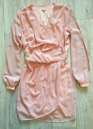 Шифоновое персиковое платье river island
