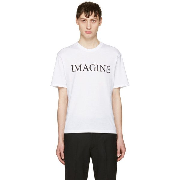 Christian Dada White Imagine T-Shirt ($145) ❤ liked on Polyvore featuring men's fashion, men's clothing, men's shirts, men's t-shirts, white, mens short sleeve t shirts, mens white t shirts, mens white short sleeve shirt, mens short sleeve shirts and mens white shirts
