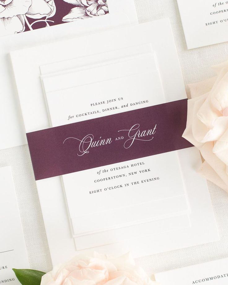 sending wedding invitations months before%0A Fig Wedding Invitations with Belly Band and Blooms Envelope Liner