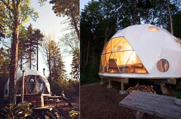 CANADA: Ridgeback Lodge. Hold the phone. Geodesic domes are now trending. These little glamping spots in Canada might be the coolest version of luxury tenting you'll see out there in the vast wilderness of New Brunswick. Close to Prince Edward Island and Nova Scotia, we could easily see Ridgeback Lodge being a stop on an amazing Canada road trip. Photo Credit: Courtesy of Ridgeback Lodge Inc.