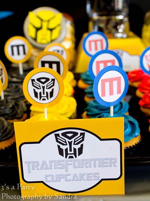 Transformers birthday party cupcakes via Kara's Party Ideas - www.karaspartyideas.com