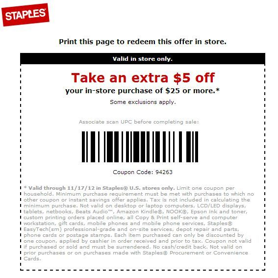 Staples Coupons October 2017