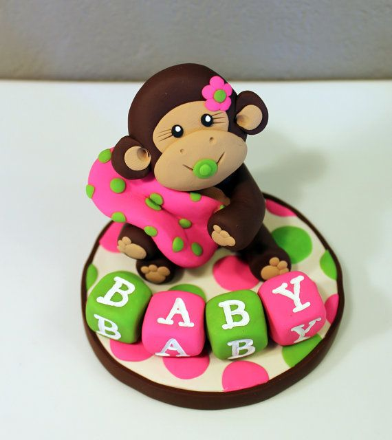 LARGE Monkey Custom Cake Topper for Birthday or Baby by carlyace, $26.95