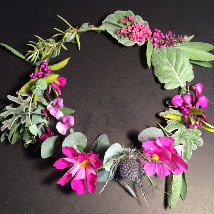 Cosmos. Thistle and lambs ear floral crown