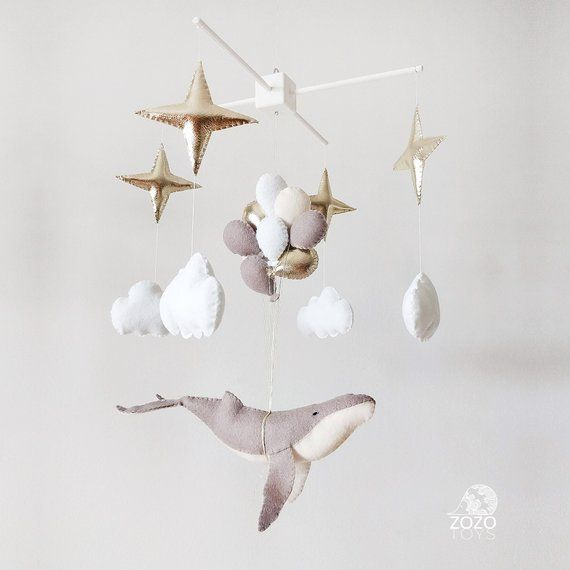 Baby Mobile – Whale Baby Mobile – Whale Nursery Mobile – Stars Baby Crib Mobile – Gift For Baby – Balloons Mobile – Nautical Mobile