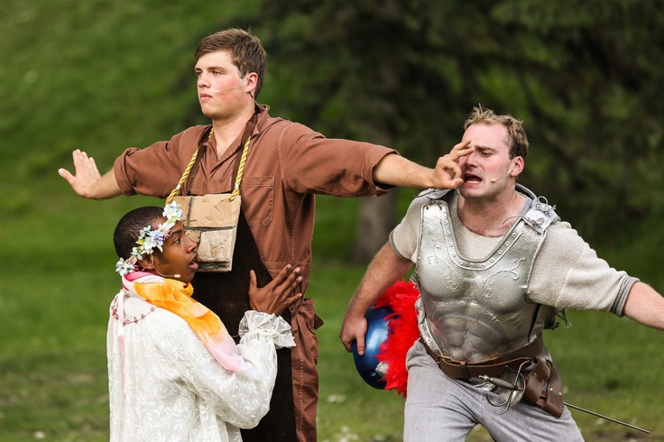 'Talking through the wall' in A Midsummer Night's Dream. Shakespeare in the Park Calgary with Theatre Calgary and Mount Royal University.
