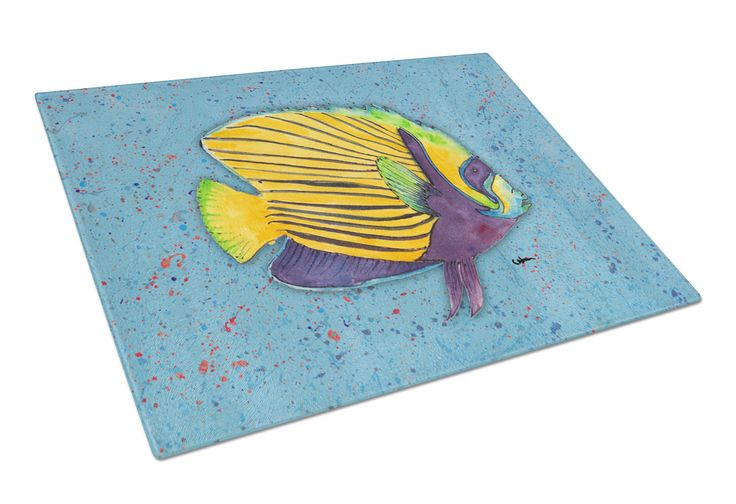 Tropical Fish on Blue Glass Cutting Board Large