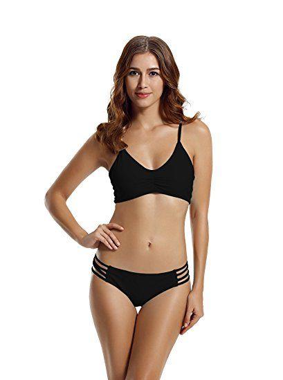 e34c554b21e zeraca Women's Strap Side Bottom Halter Racerback Bikini Swimsuits (M10,  Black) #bikinis #swimsuits #swimwear #sexy #modest #victoriasecret  #onepiece #beach ...