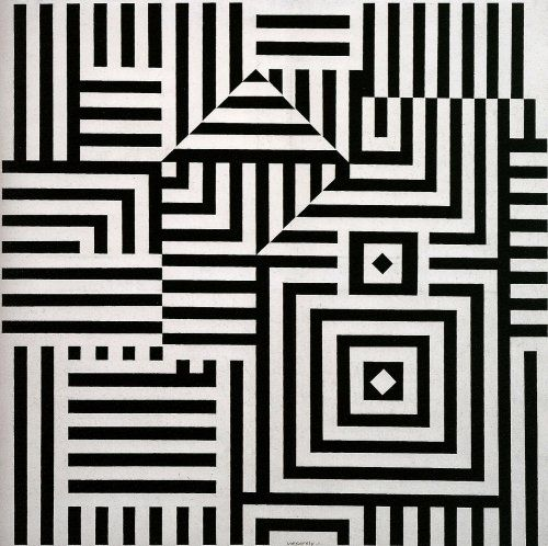 Victor Vasarely op art from the 1960's. Optical illusion art was meant to play tricks on the eyes.