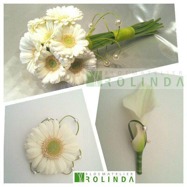 Bruidsboeket en bruidegomcorsage witte gerbera, corsage calla   Bloematelier Rolinda
