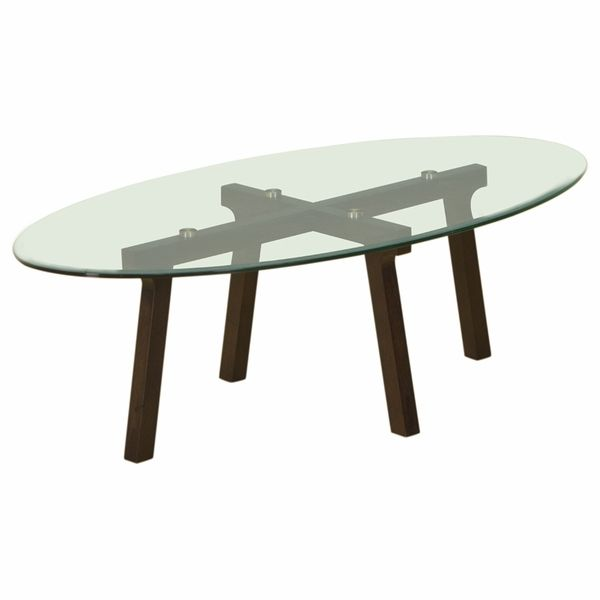 Oval Clear Glass Top Cocktail Table with Espresso Base