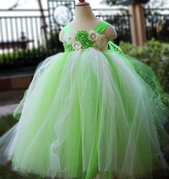 Lime Green Flower Girl Dress Party dresses by coloranglesBoutique, $69.00 - I like the touch of green and have the ring bearer with a matching tie :)