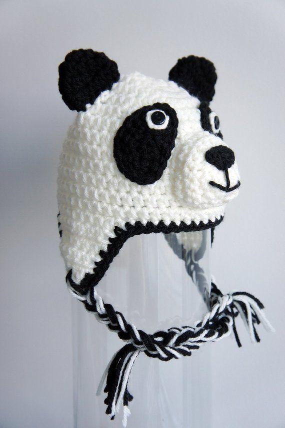 8aa03ee75a4 Panda Hat Panda Bear Crochet Baby Hat Baby Hat Animal Hat