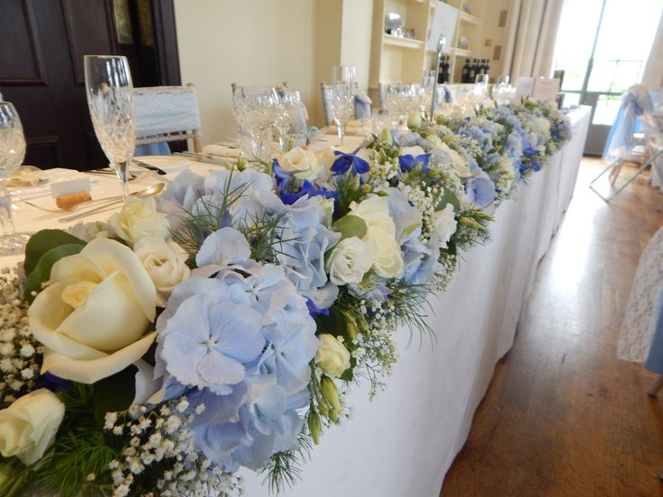 Top Table Flowers In Pale Blues Electric And Whites Llangoed Hall Www