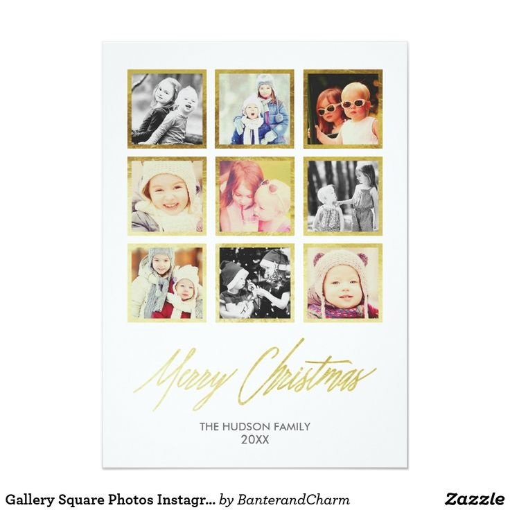 """Gallery Square Photos Instagram in Faux Gold Foil Card This gallery style holiday card features a collage of 9 square photos - perfect for sharing your favorite snapshots from your Instagram gallery! A shimmery faux gold foil border frames each picture for a bit of added glamour, and """"Merry Christmas"""" in an elegant modern calligraphy font finishes off the card. Add your family name and the year at the bottom, and you have a gorgeous custom holiday card ready to share with friends and family."""