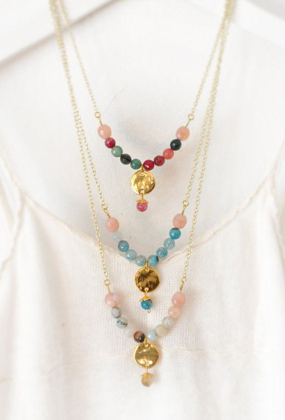 Beaded Gemstone Necklace  Delicate Agate by stellacreations
