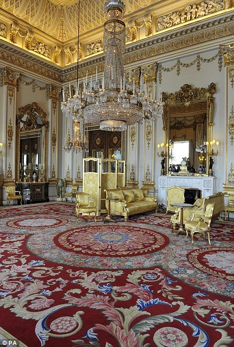 Splendour: The White Drawing Room includes a stunning chandelier and furniture lined with gold upholster. The room was one of many others used in the wedding reception