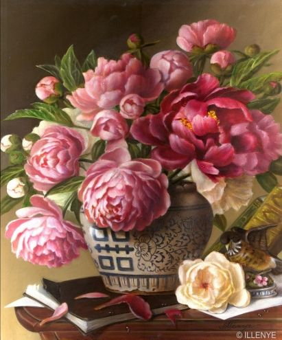 large classical floral oil painting pink Peonies blue white Double Happiness Porcelain Jar Books Lefton Baby Robin Figurine traditional -- JEANNE ILLENYE