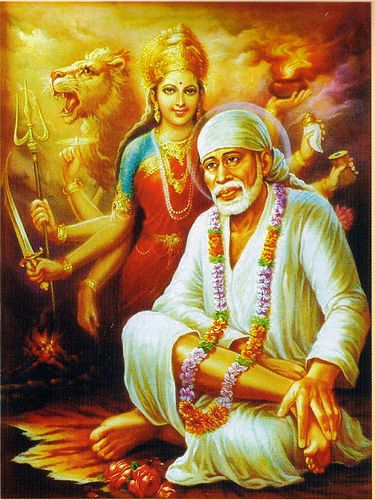 """Picture from my personal """"spiritual"""" pictures of Shirdi Sai Baba with Mother Divine."""