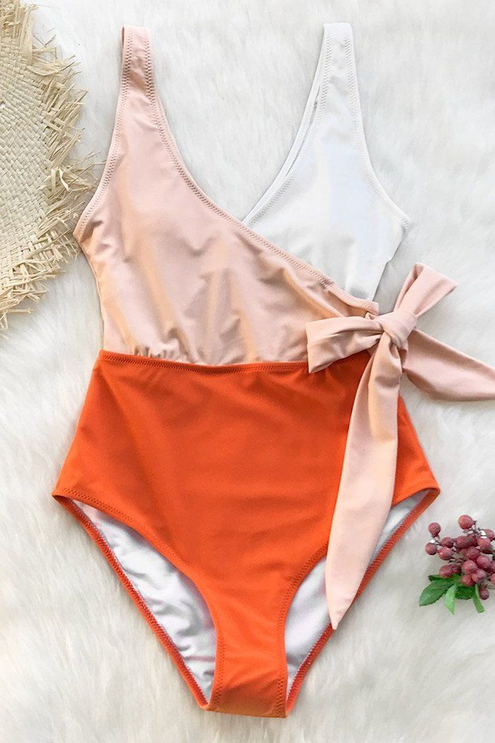 Orange And White Bowknot One Piece Swimsuit Swimsuits One Piece Swimsuit One Piece Swimwear