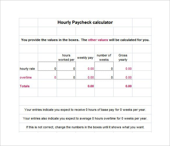 10 Hourly Paycheck Calculator Templates Paycheck Pay