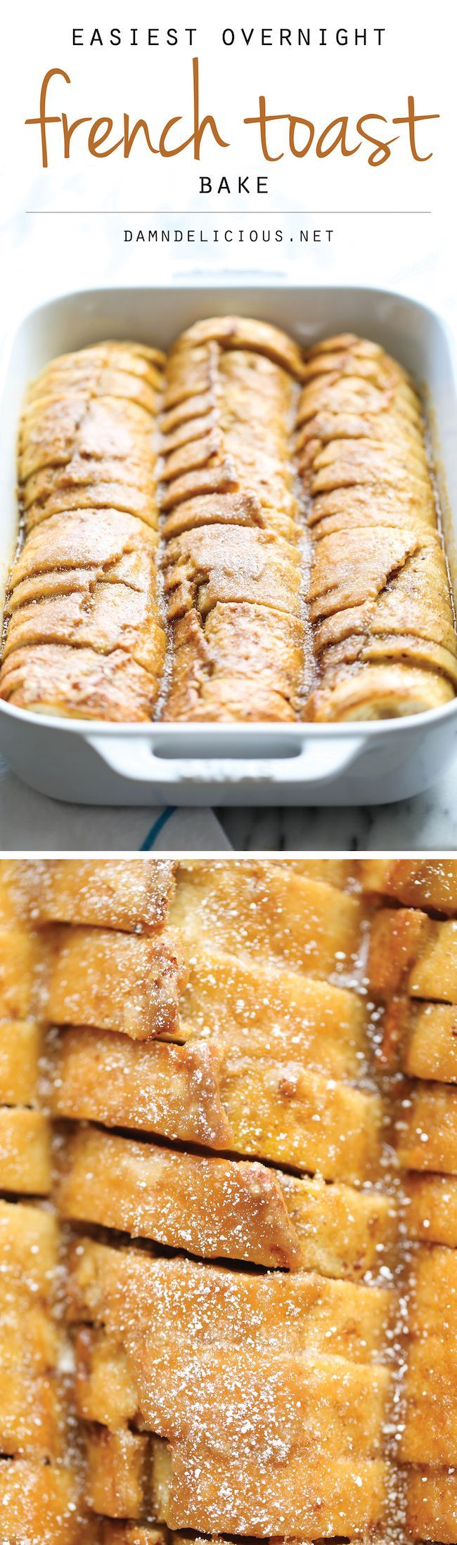 Easiest Overnight French Toast Bake - You can easily prep this the night before in only 10 min. Then just pop it in the oven right before serving. So easy! #frenchtoast