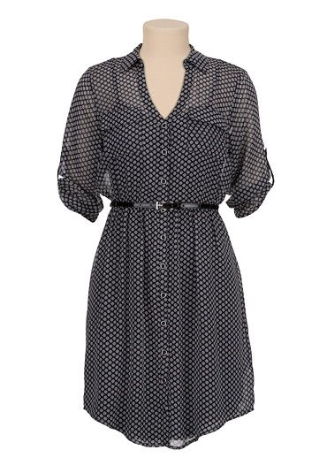 Printed Chiffon Shirtdress with Belt available at #Maurices