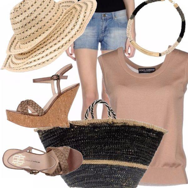 Una scelta di colori che dona alle pelli ambrate dal sole.  Con short e canottiera non si soffre la calura estiva.  Le scarpe sono comodissime ed il cappello protegge la pelle del nostro viso dal sole...cosa desiderare di più?
