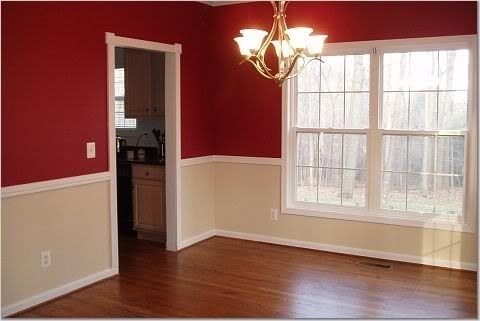 my choice for our dining room colors the walls are already that bottom color and weve got an awesome rug with that red color in it - Dining Room Color Ideas With Chair Rail