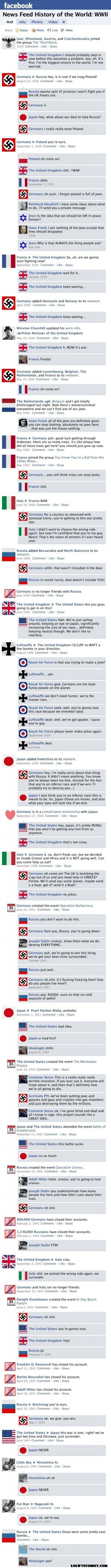 LOLwtfCOMICS : BEST LOL COMICS FROM ALL OVER THE INTERNET: FACEBOOK WWII IN FACEBOOK STATUS SECOND WORLD WAR II NEWS FEED HISTORY OF THE WORLD: WWII
