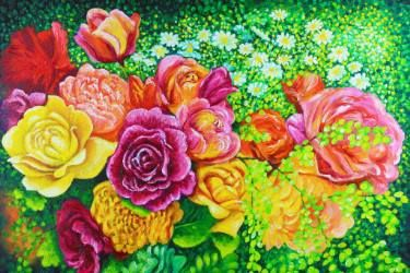 Bouquet of Roses and Begonias