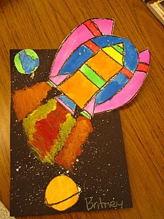 Creating Spaceship using symmetry - along with background relating to what is being learned in the classroom.