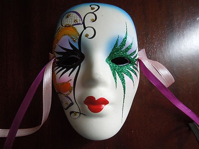Porcelain Masks Decoration Handpainted Porcelain Harlequin Mime Mardi Gras Mask  Mardi Gras