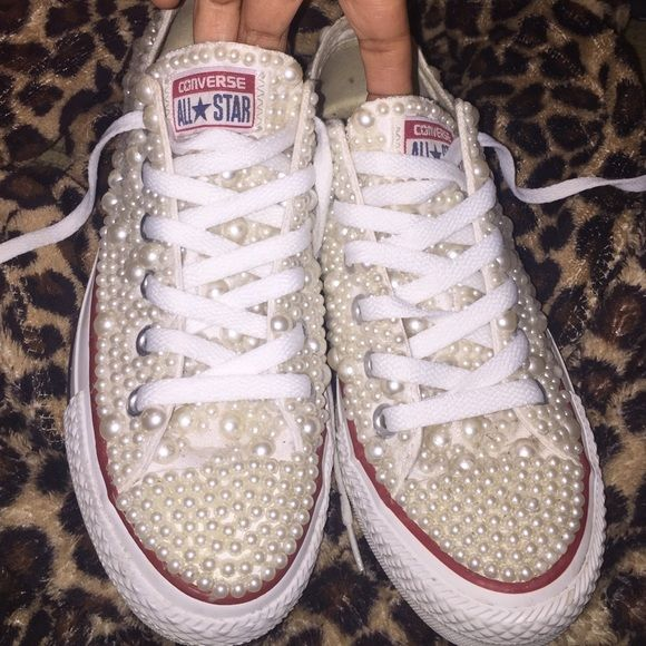 Custom Converse White pearls custom made converse...need alil cleaning in the inside but everything else perfect..men's 5 women's 7 Converse Shoes Athletic Shoes